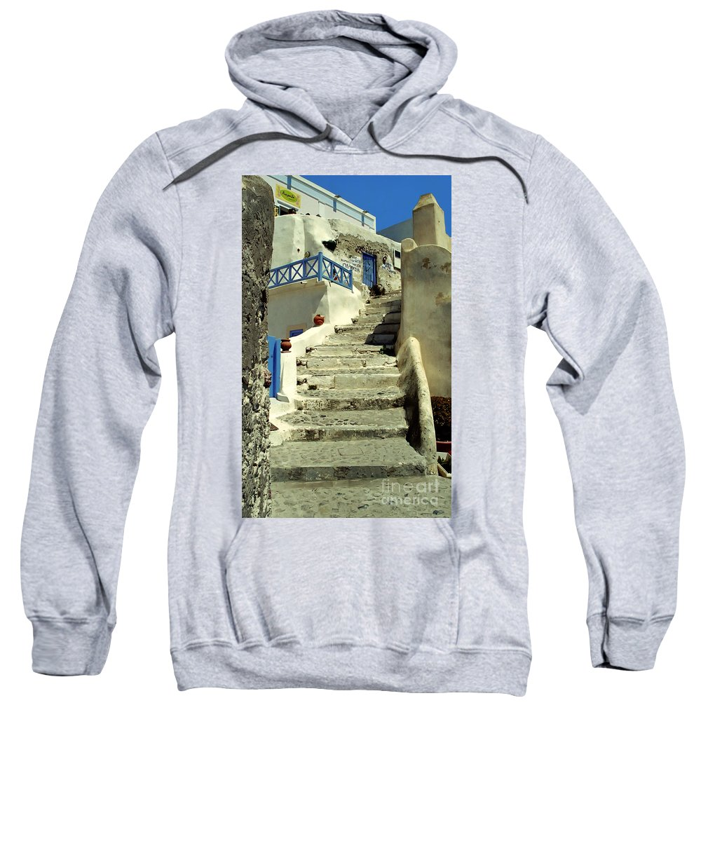 Stairs Sweatshirt featuring the photograph Stairway In Santorini by Madeline Ellis