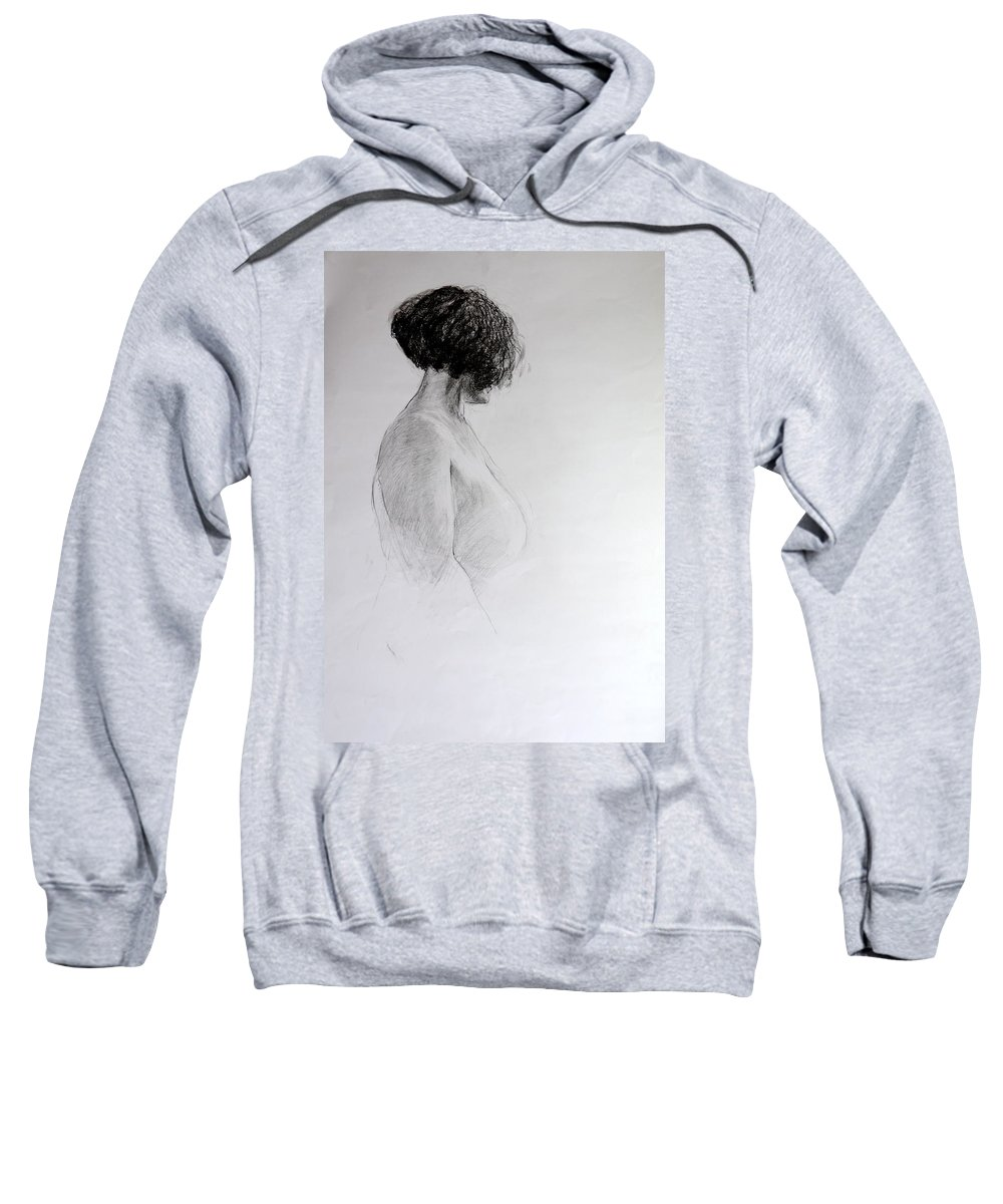 Life Sweatshirt featuring the drawing Standing Nude by Harry Robertson