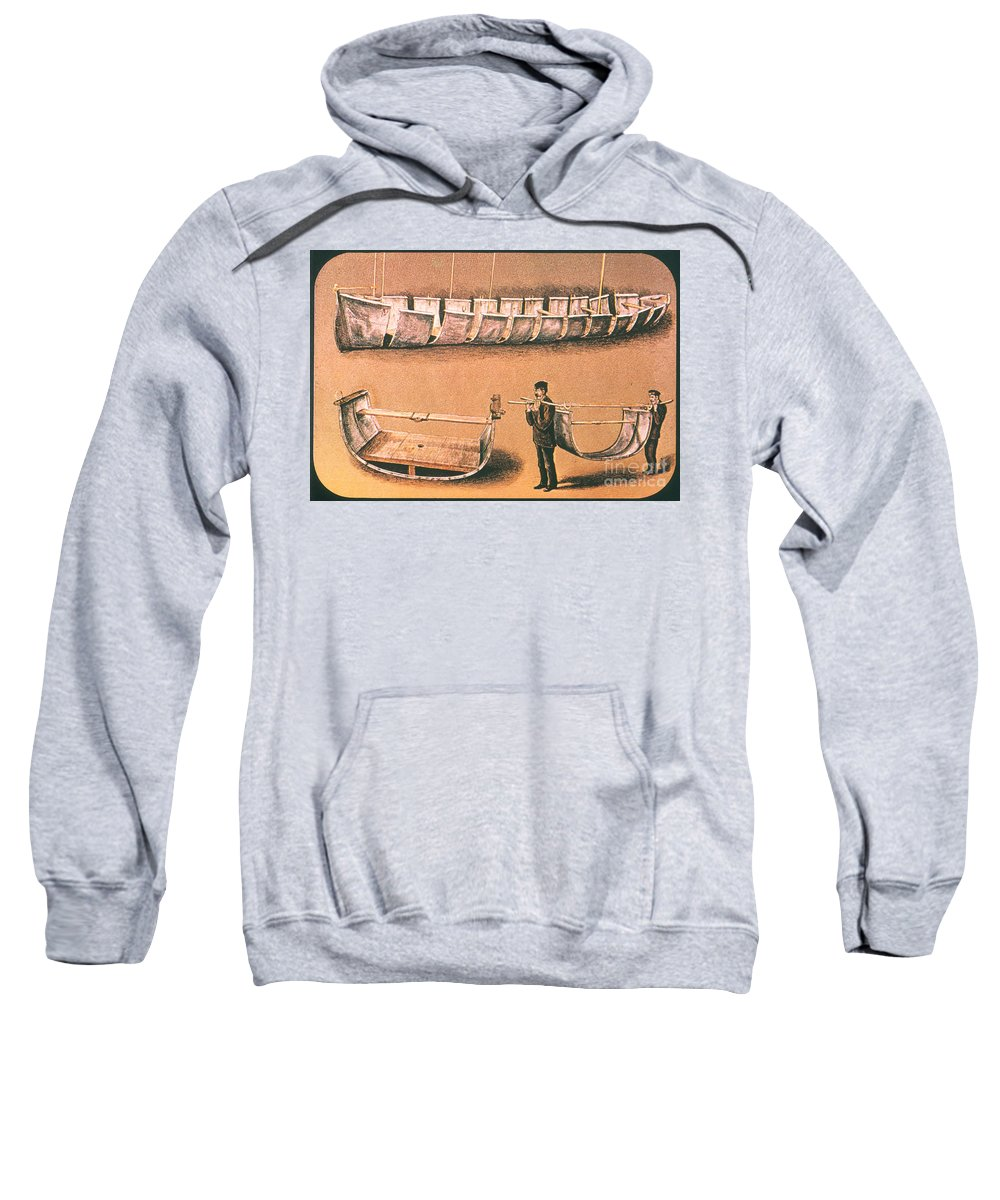 1874 Sweatshirt featuring the painting Stanleys Portable Boat by Granger