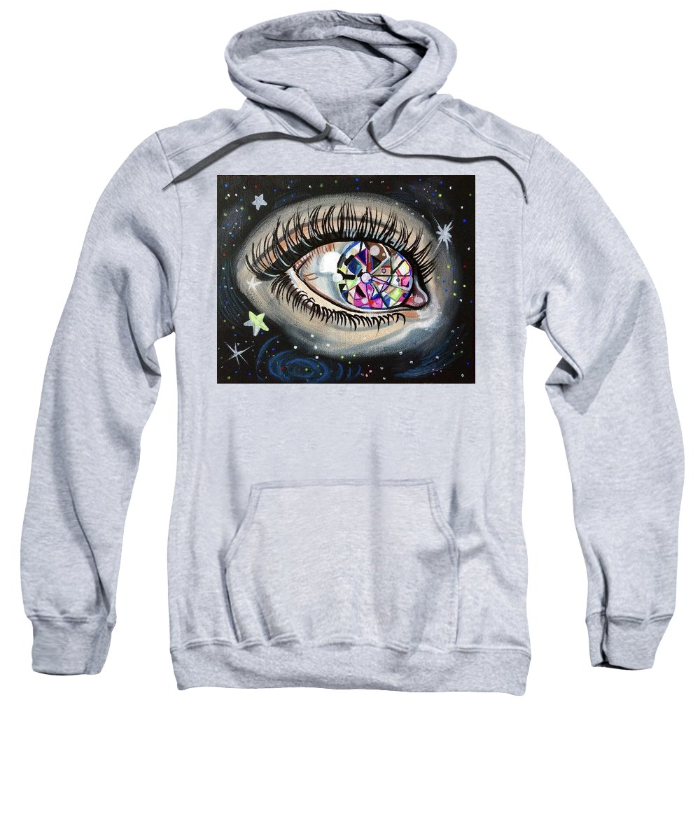 Gem Diamond Eye Eyelash Lashes Stars Galaxy Outer Space Space Eyeball Sight See Twinkle Galactic Sweatshirt featuring the painting Star Gazing by Lori Teich