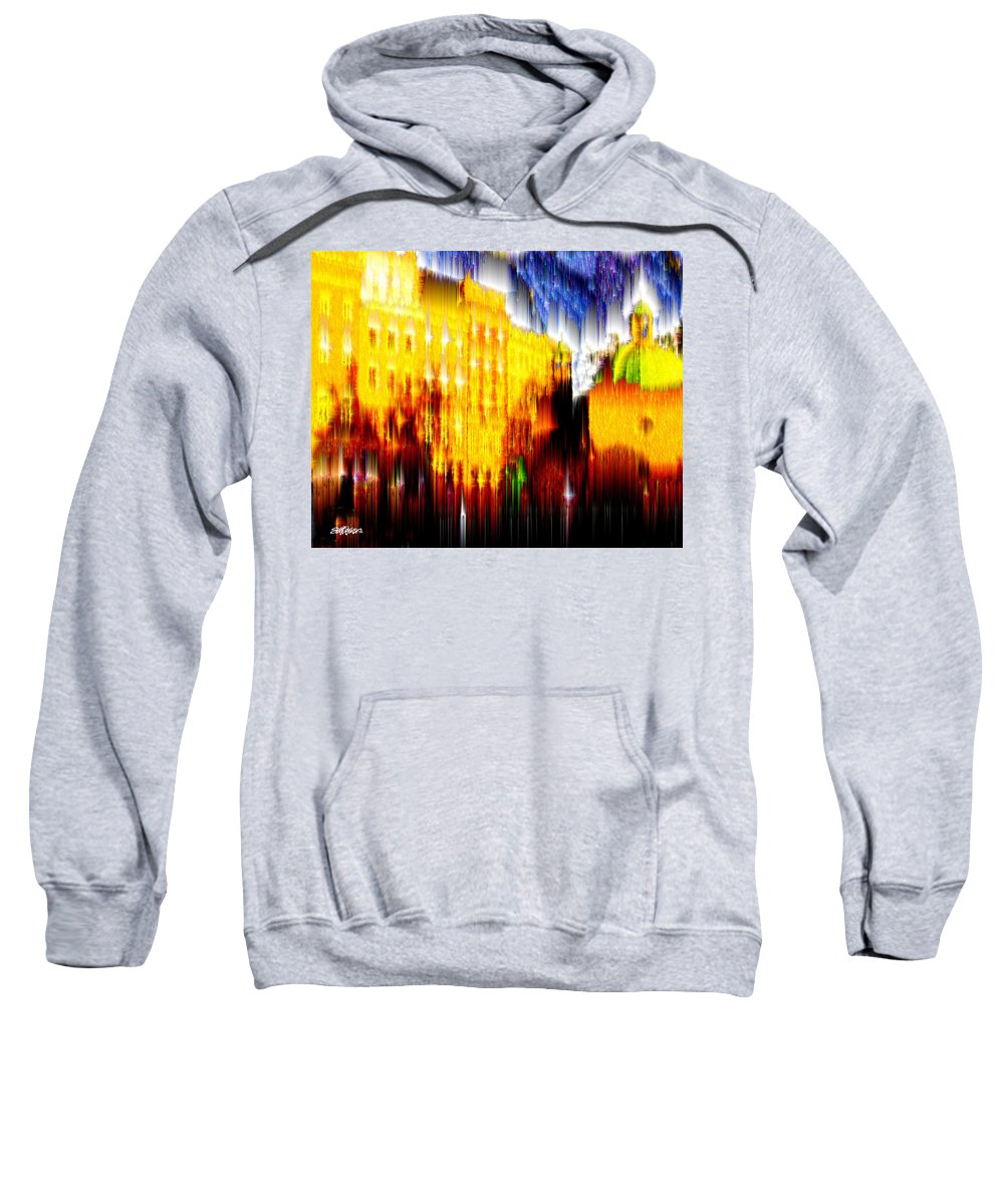 Old World Sweatshirt featuring the digital art Starry Night in Prague by Seth Weaver