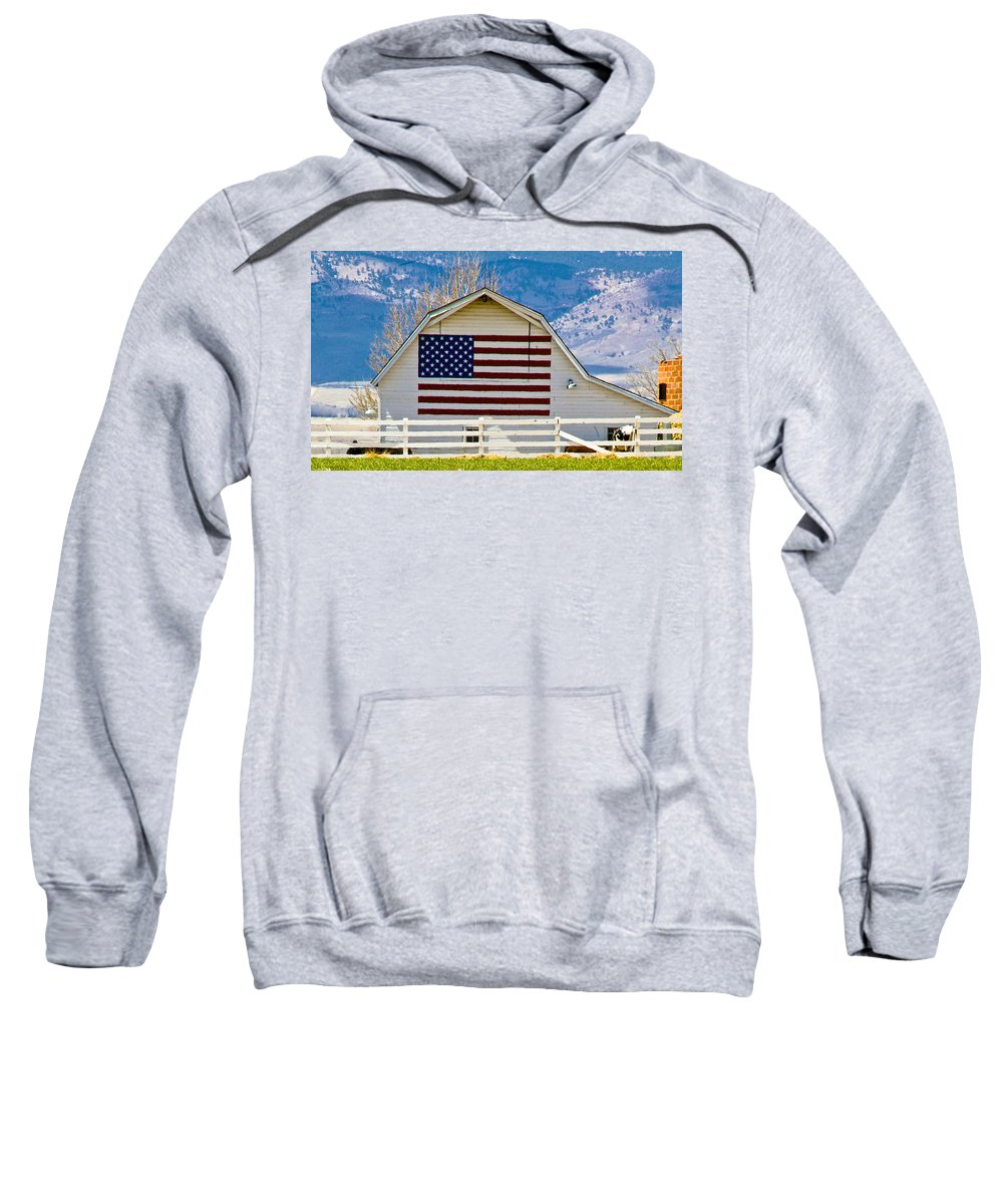 Barn Sweatshirt featuring the photograph Stars Stripes And Barns by Marilyn Hunt