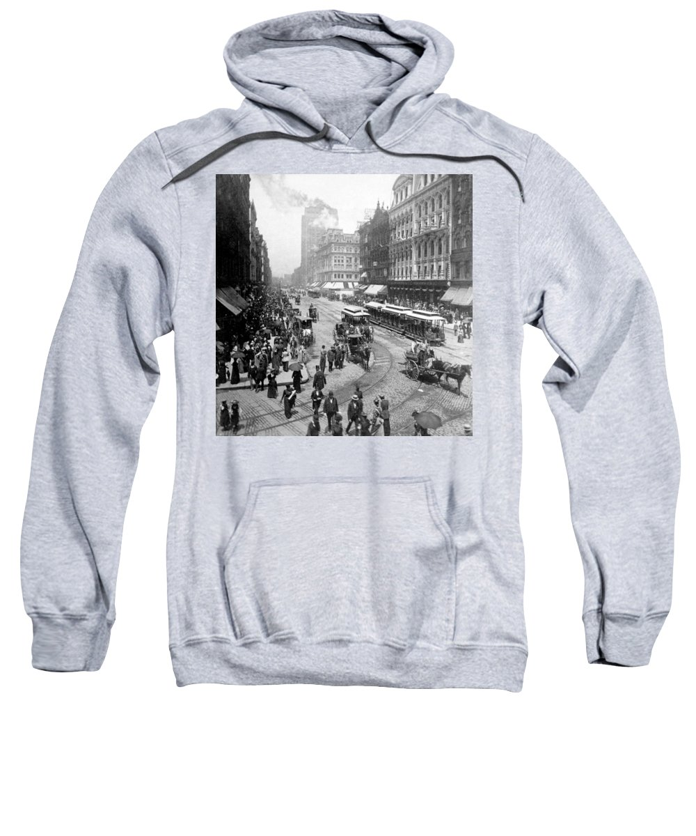 chicago Illinois Sweatshirt featuring the photograph State Street - Chicago Illinois - C 1893 by International Images