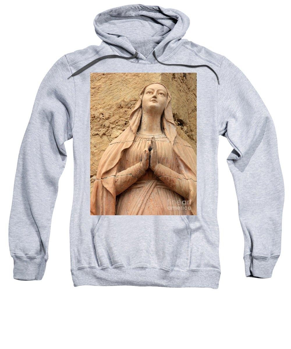 Mary Sweatshirt featuring the photograph Statue Of Mary Closeup by Carol Groenen