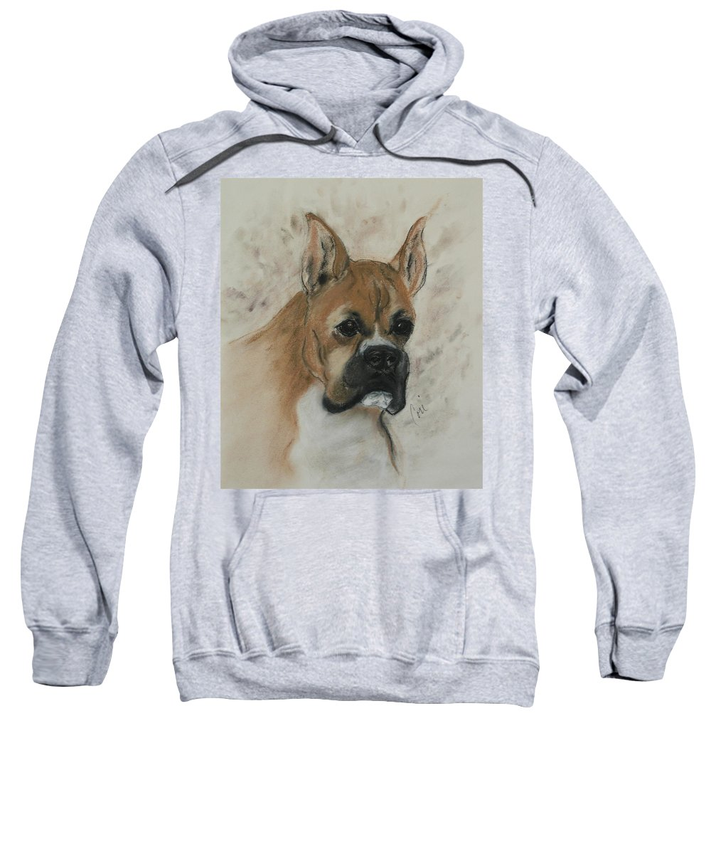 Dog Sweatshirt featuring the drawing Steady Goes It by Cori Solomon