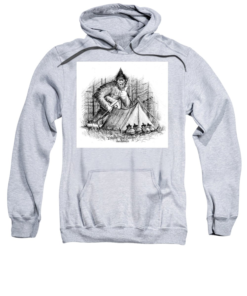 Sasquatch Art Sweatshirt featuring the drawing Stealin The Cooler - Sasquatch by Peter McCoy