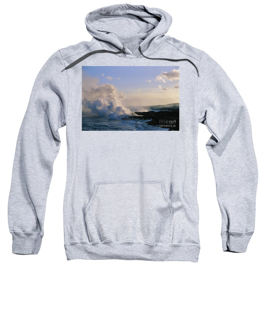Afternoon Sweatshirt featuring the photograph Steam Cloud And Lava by Greg Vaughn - Printscapes