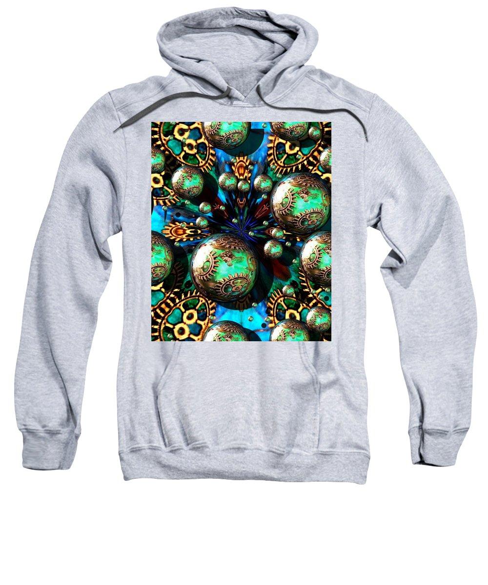 Digital Art Sweatshirt featuring the digital art Steampunk Fractal 71216.4 by Belinda Cox