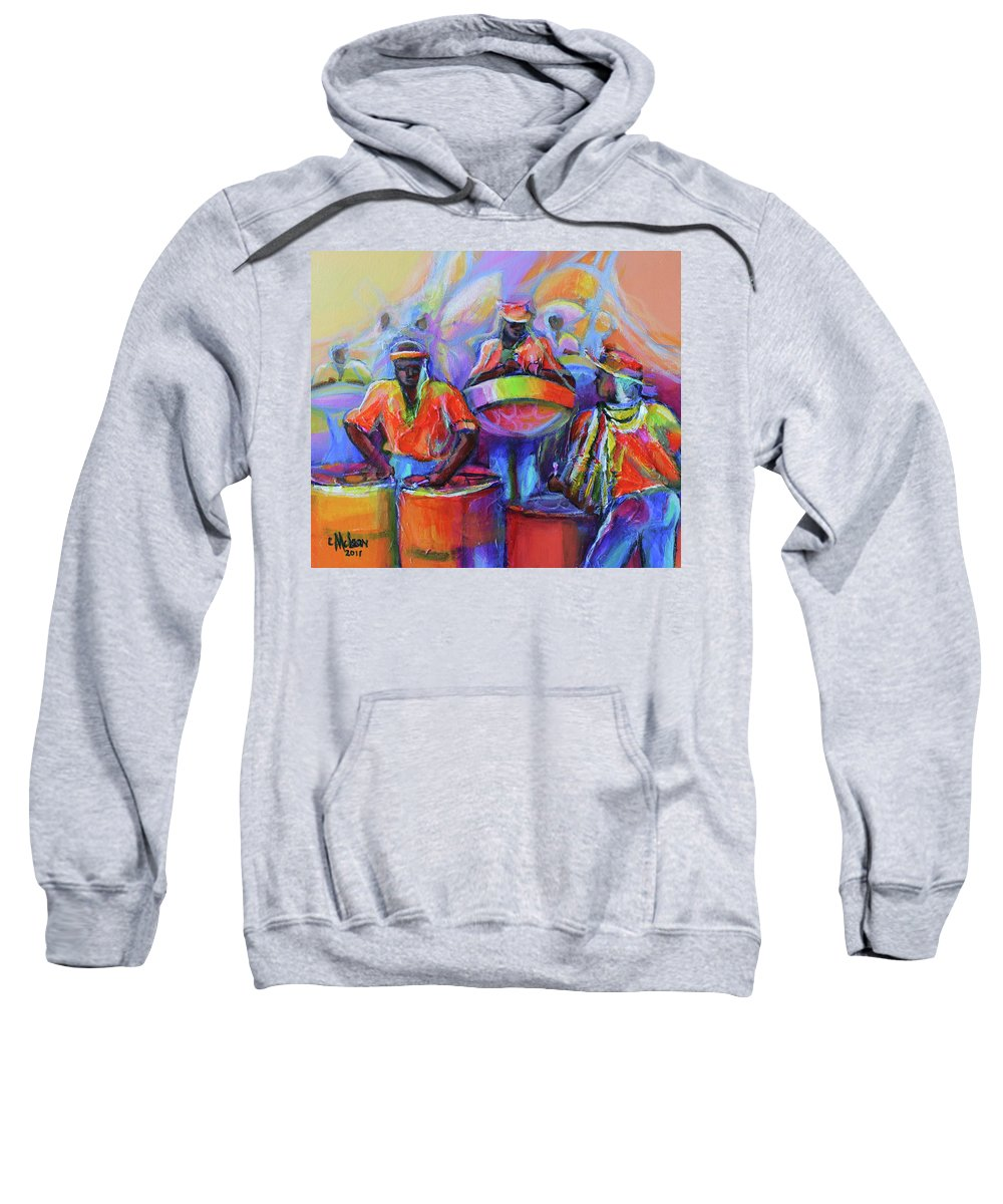 Abstract Sweatshirt featuring the painting Steel Pan Carnival by Cynthia McLean