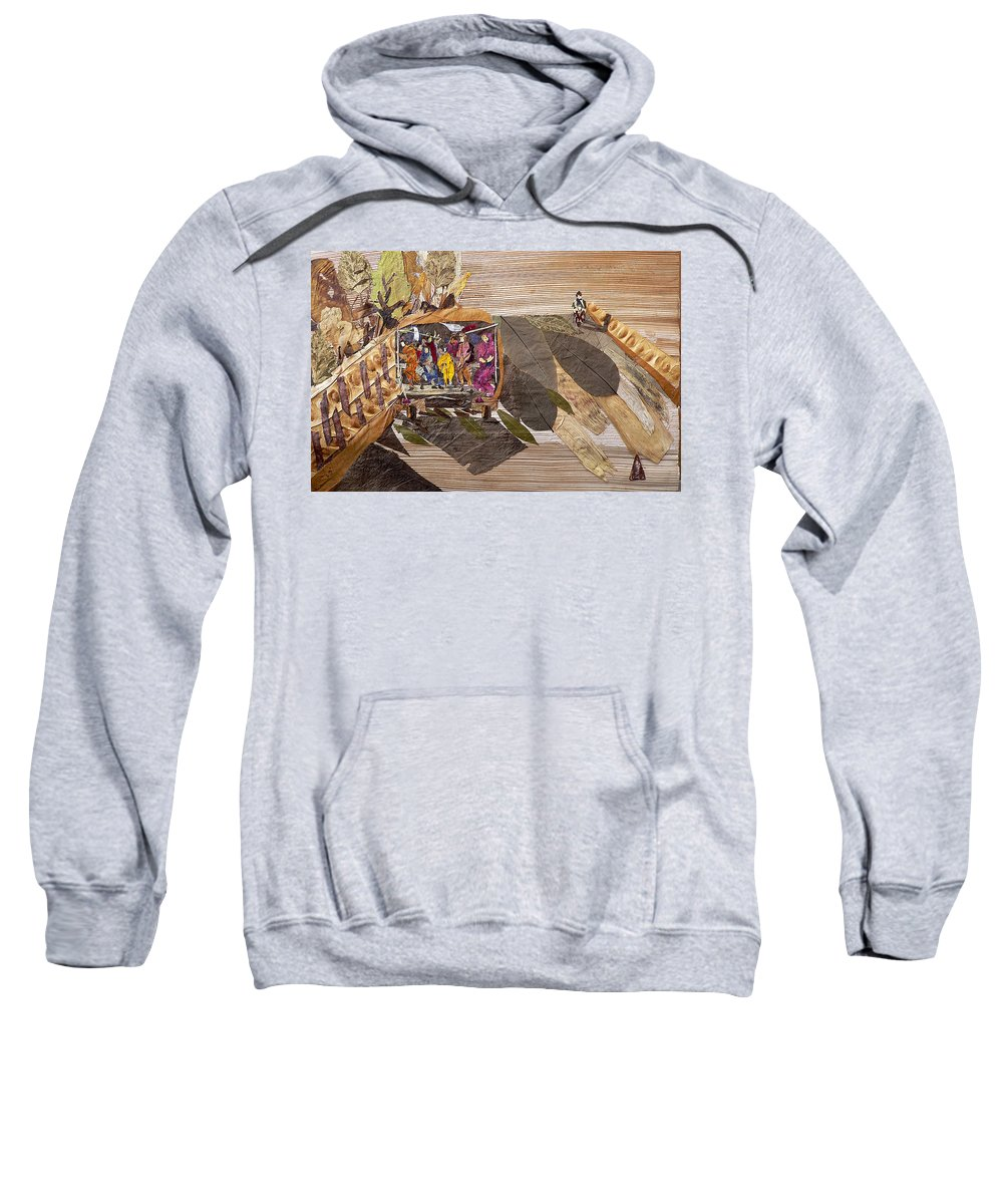 Tempo Drive To City Sweatshirt featuring the mixed media Steep Riding by Basant soni