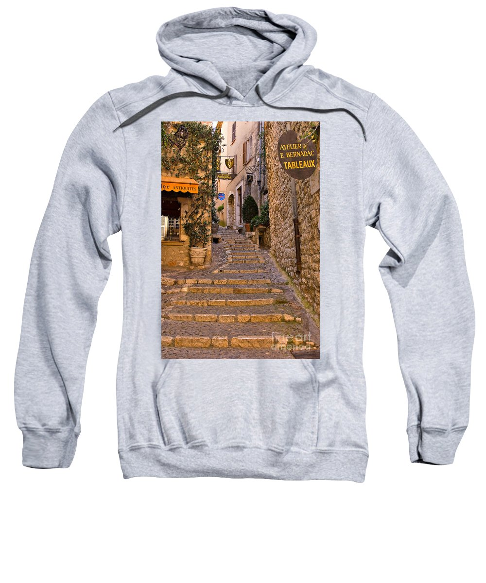 Travel Sweatshirt featuring the photograph Steep Street In St Paul De Vence by Louise Heusinkveld