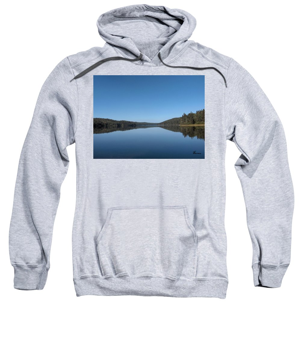 Lake Water Steepbanks Trees Still Scenery Forest Hills Sweatshirt featuring the photograph Steepbanks Lake by Andrea Lawrence