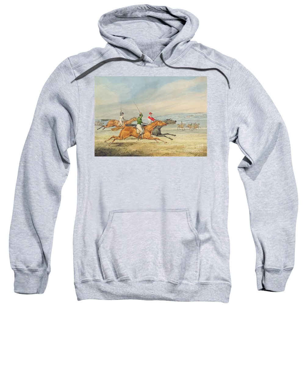 Steeplechasing Sweatshirt featuring the painting Steeplechasing by Henry Thomas Alken