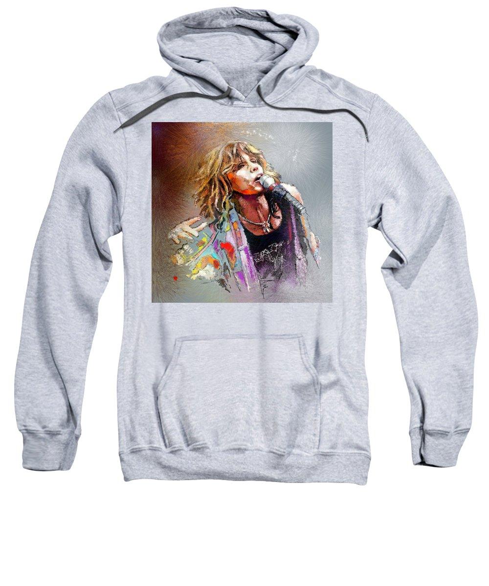 Musicians Sweatshirt featuring the painting Steven Tyler 02 Aerosmith by Miki De Goodaboom