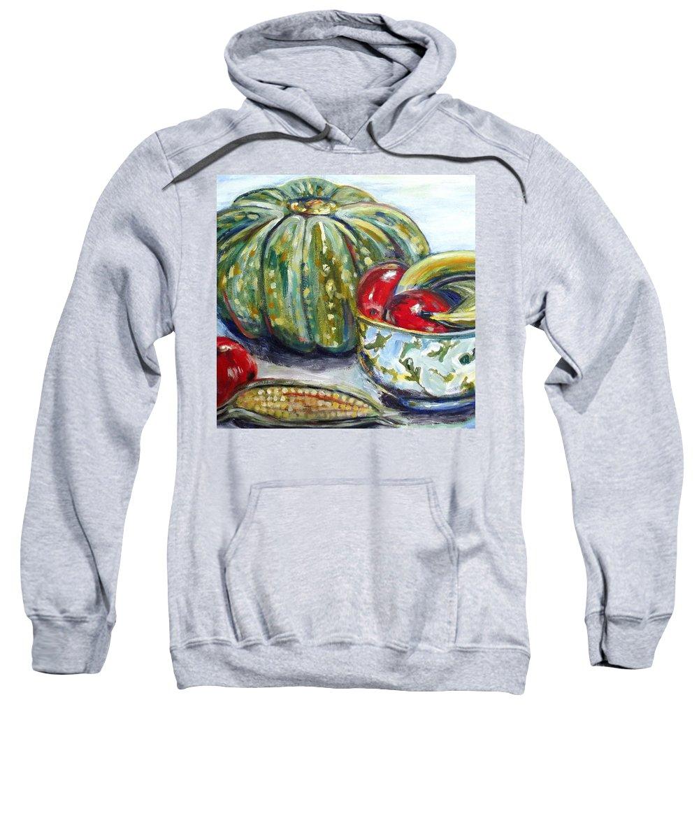 Still-life Sweatshirt featuring the painting Still-life Pumpkin And Apples by Sarina Damen
