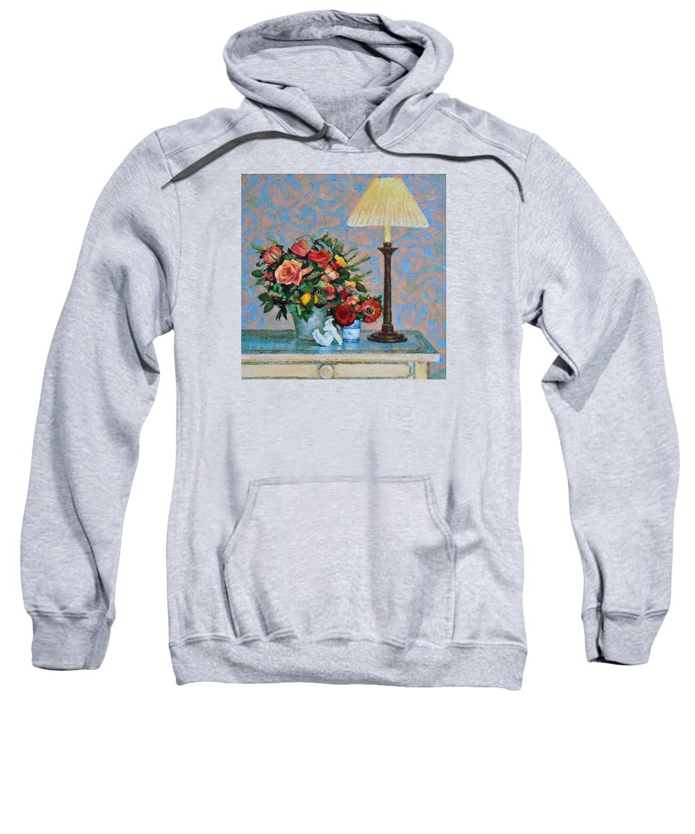 Flowers Sweatshirt featuring the painting Still Life With A Lamp by Iliyan Bozhanov