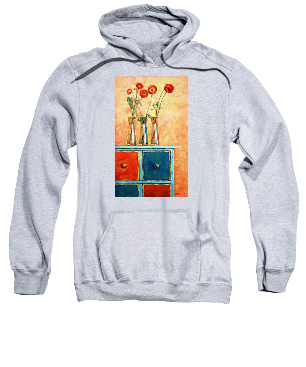 Poppies Sweatshirt featuring the painting Still Life With Poppies by Iliyan Bozhanov