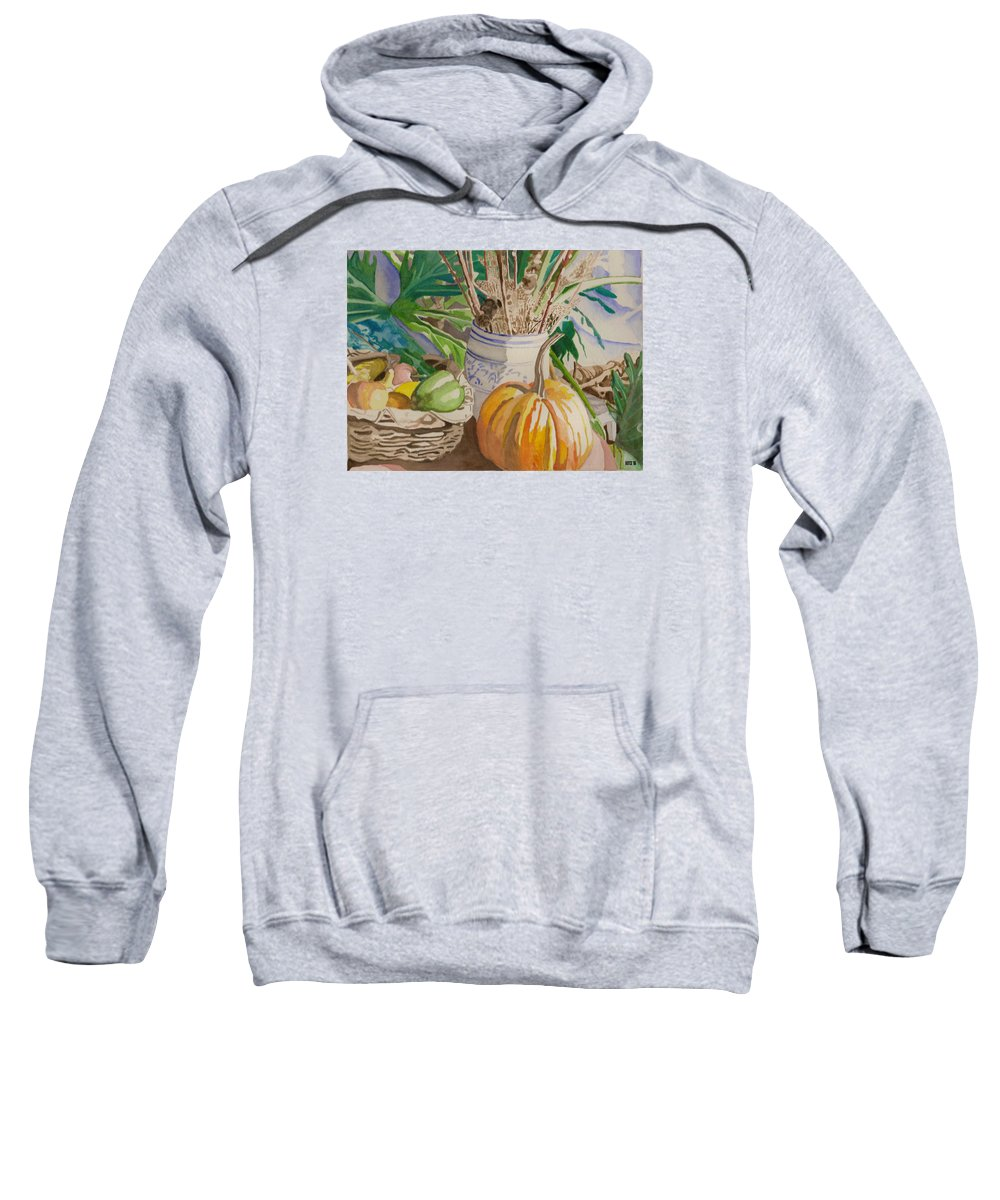 Still Life Sweatshirt featuring the painting Still Life With Pumpkin by Lois Boyce