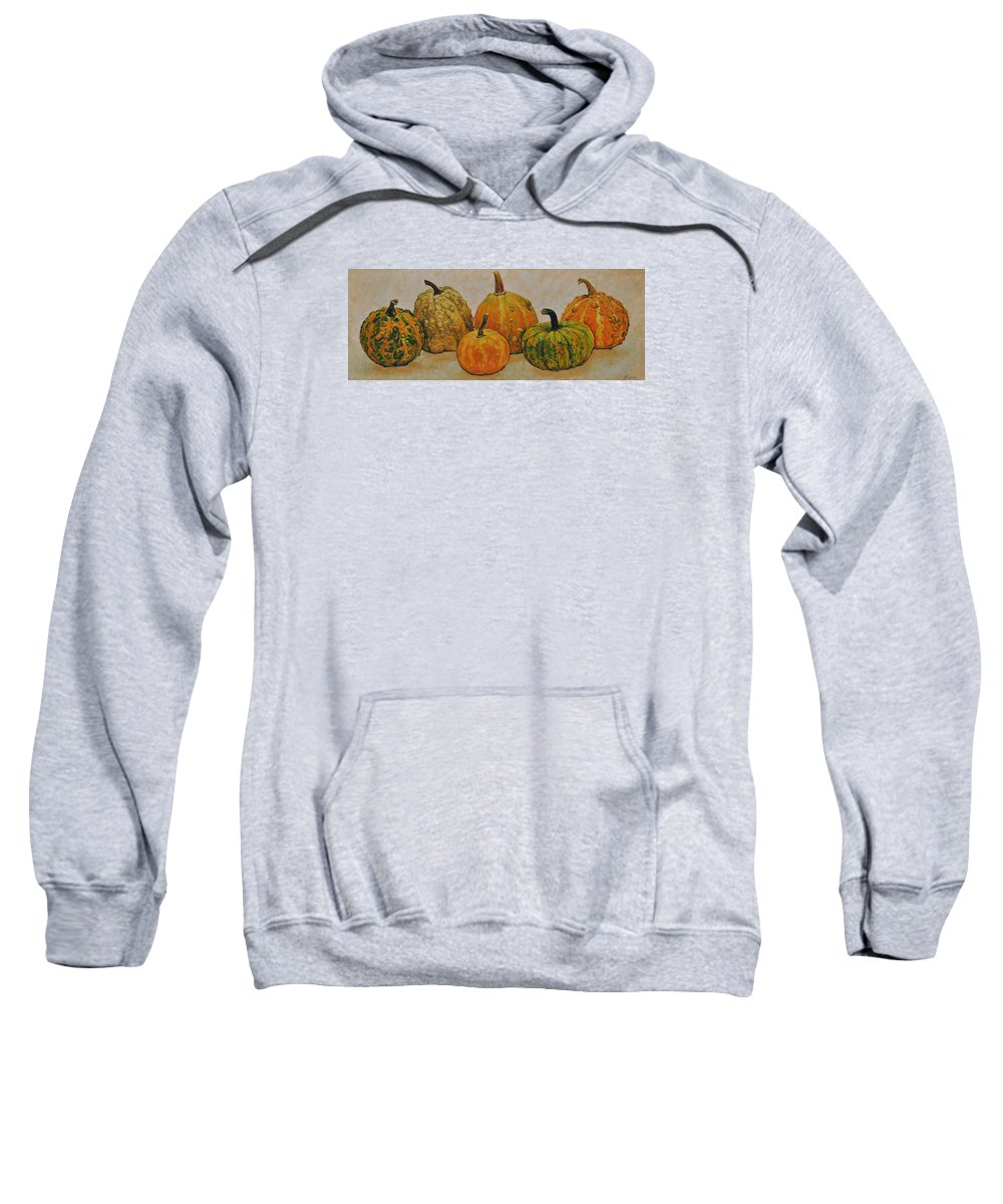 Still Life Sweatshirt featuring the painting Still Life With Pumpkins by Iliyan Bozhanov