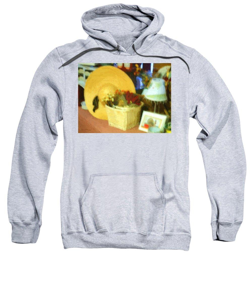 Basket Sweatshirt featuring the digital art Still Life With Straw Hat by RC DeWinter