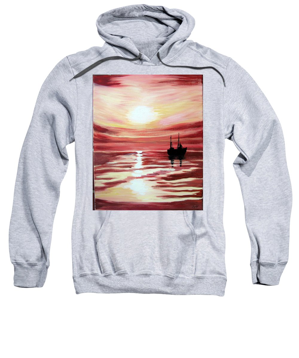 Seascape Sweatshirt featuring the painting Still Waters Run Deep by Marco Morales