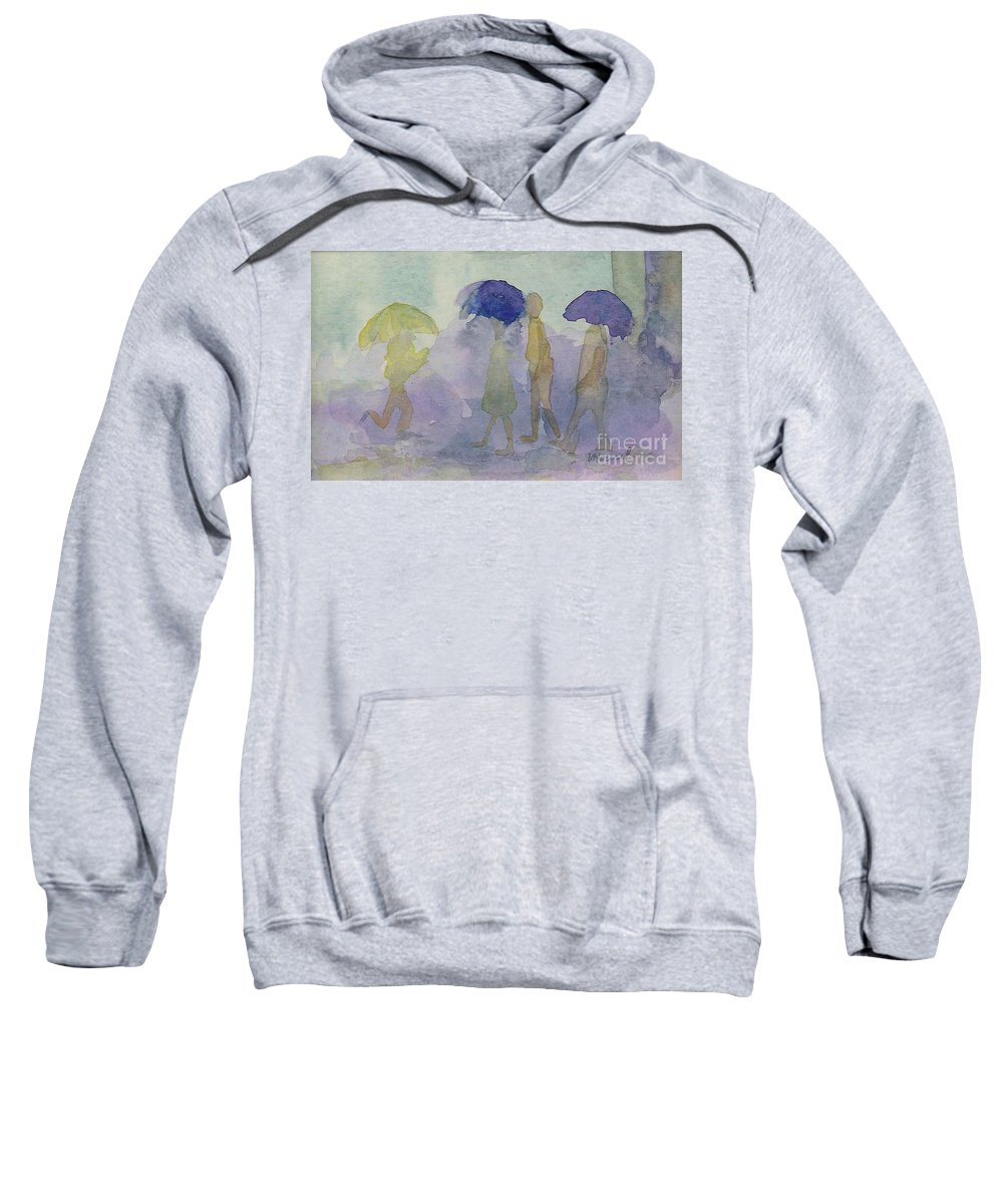 Watercolor Sweatshirt featuring the painting Stomping In The Rain by Vicki Housel