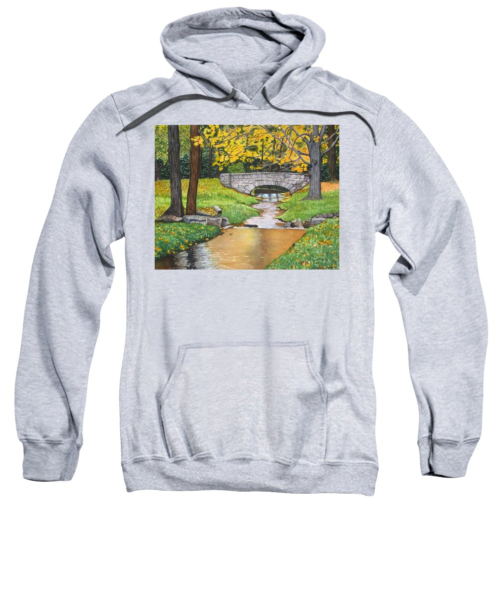 Landscape Sweatshirt featuring the painting Stone Bridge by Sharon Farber