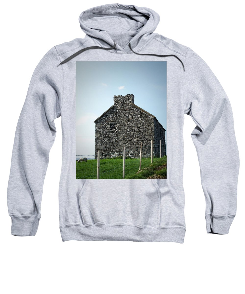 Irish Sweatshirt featuring the photograph Stone Building Maam Ireland by Teresa Mucha
