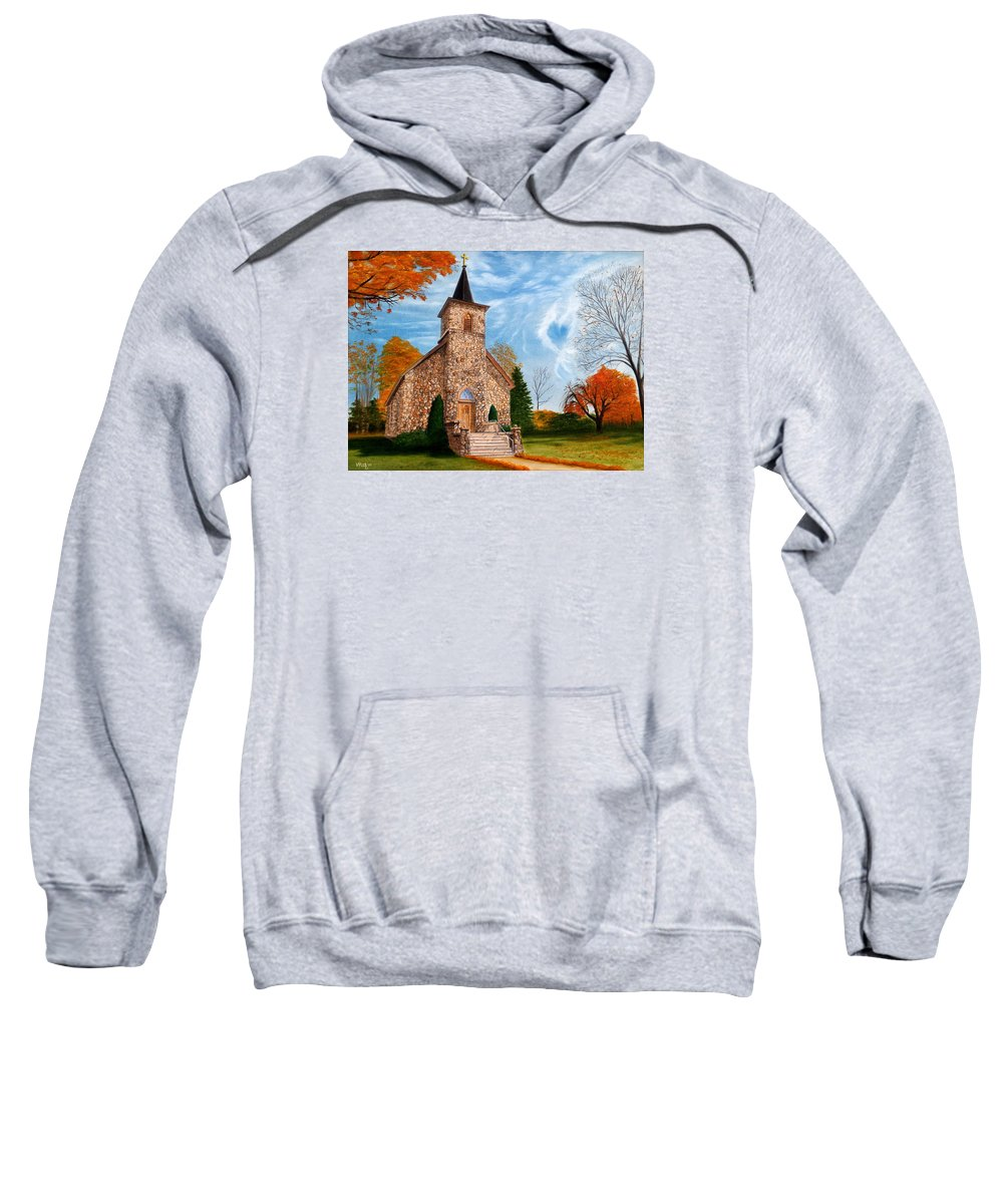 Peaceful Sweatshirt featuring the painting Stone Church by Vicky Path