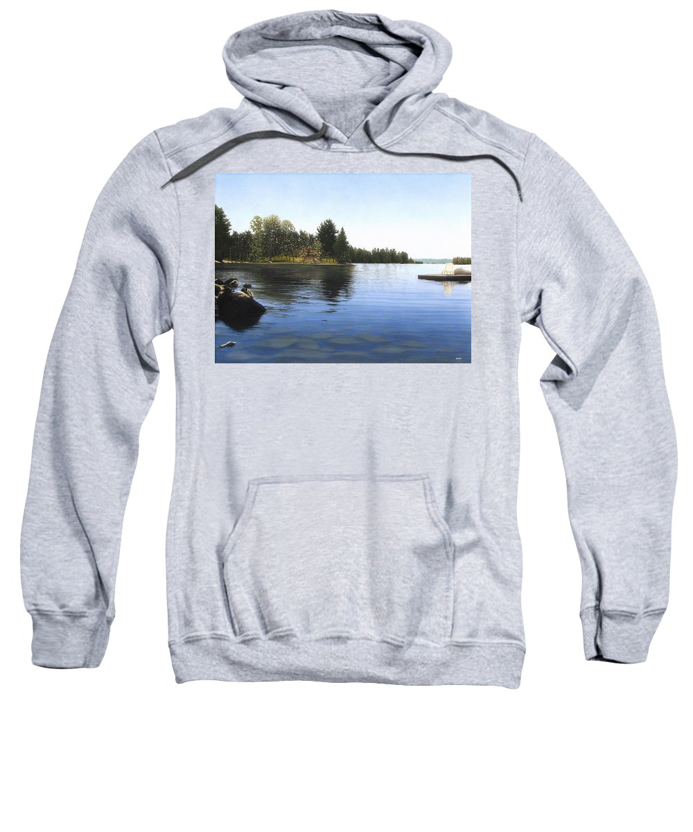 Landscapes Sweatshirt featuring the painting Stoney Lake by Kenneth M Kirsch