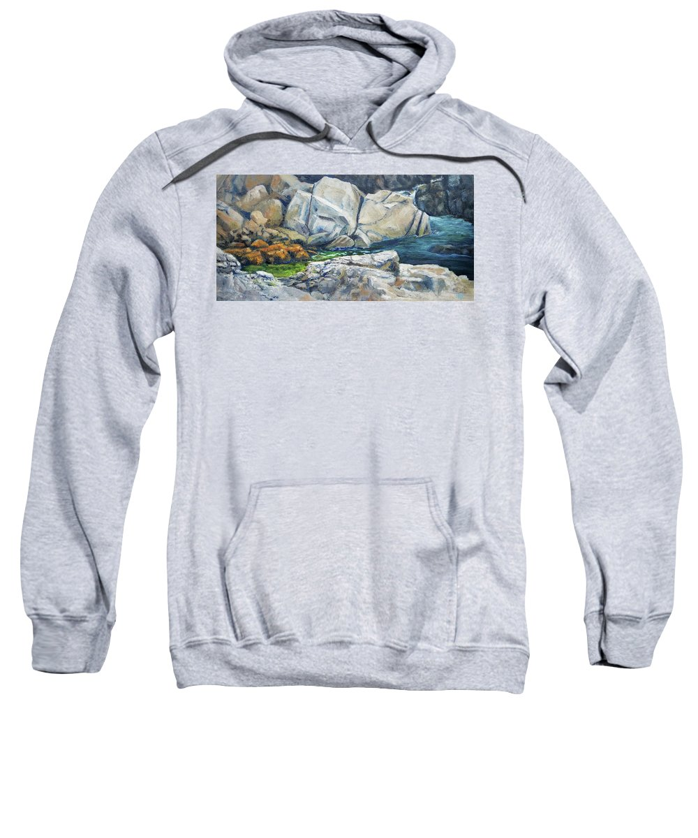 Rocks Sweatshirt featuring the painting Stopping Point by Susan Hanna