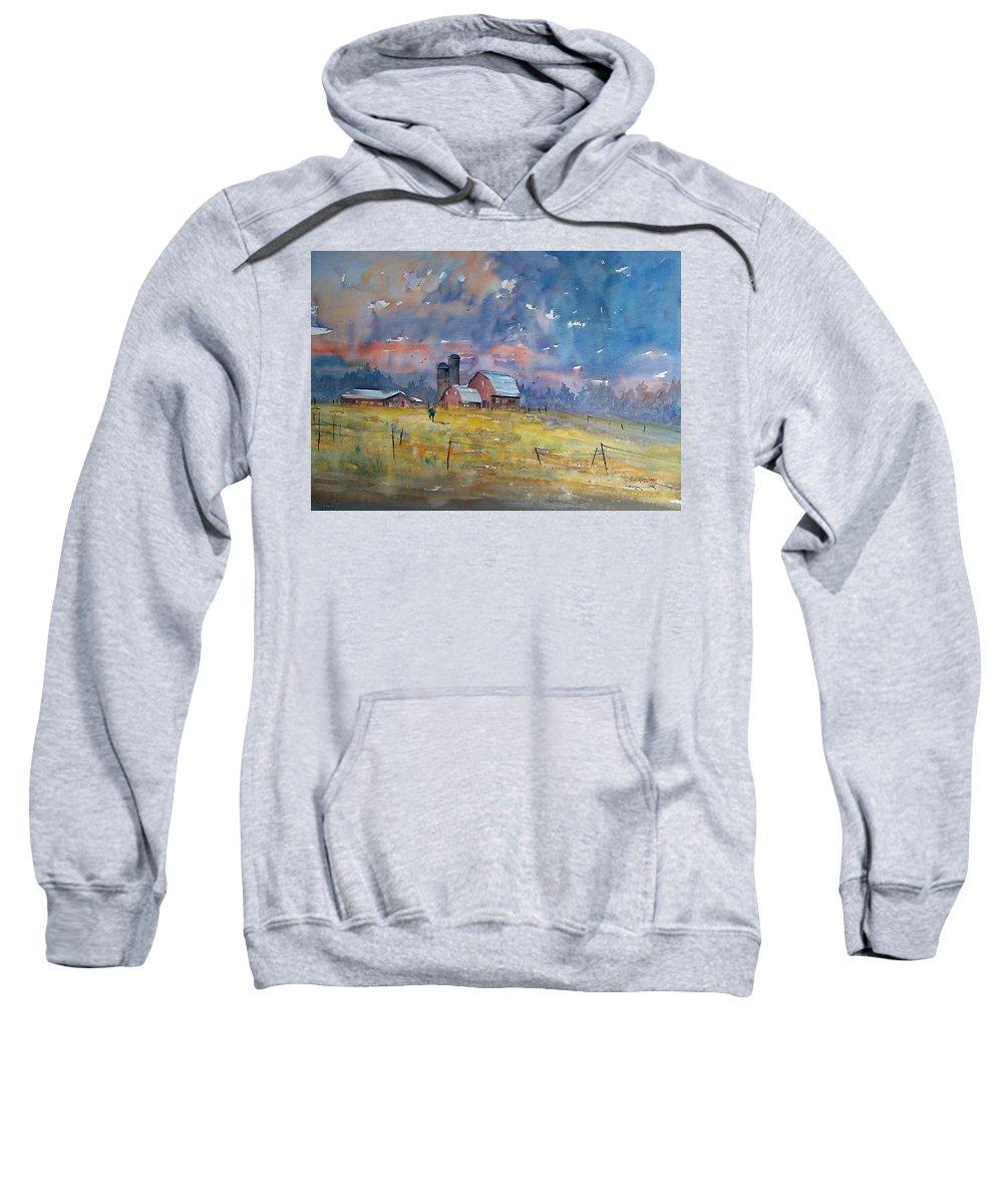 Watercolor Sweatshirt featuring the painting Storm Brewing by Ryan Radke
