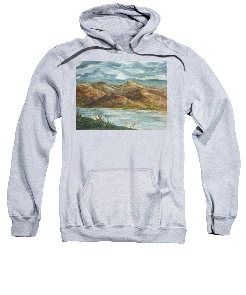 Nature Sweatshirt featuring the painting Storm Clouds by Ellen Levinson