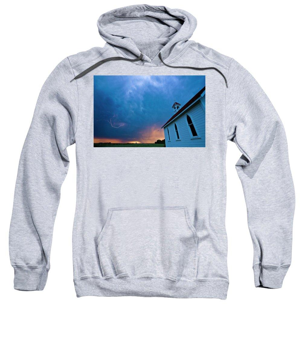 Church Sweatshirt featuring the digital art Storm Clouds Over Saskatchewan Country Church by Mark Duffy