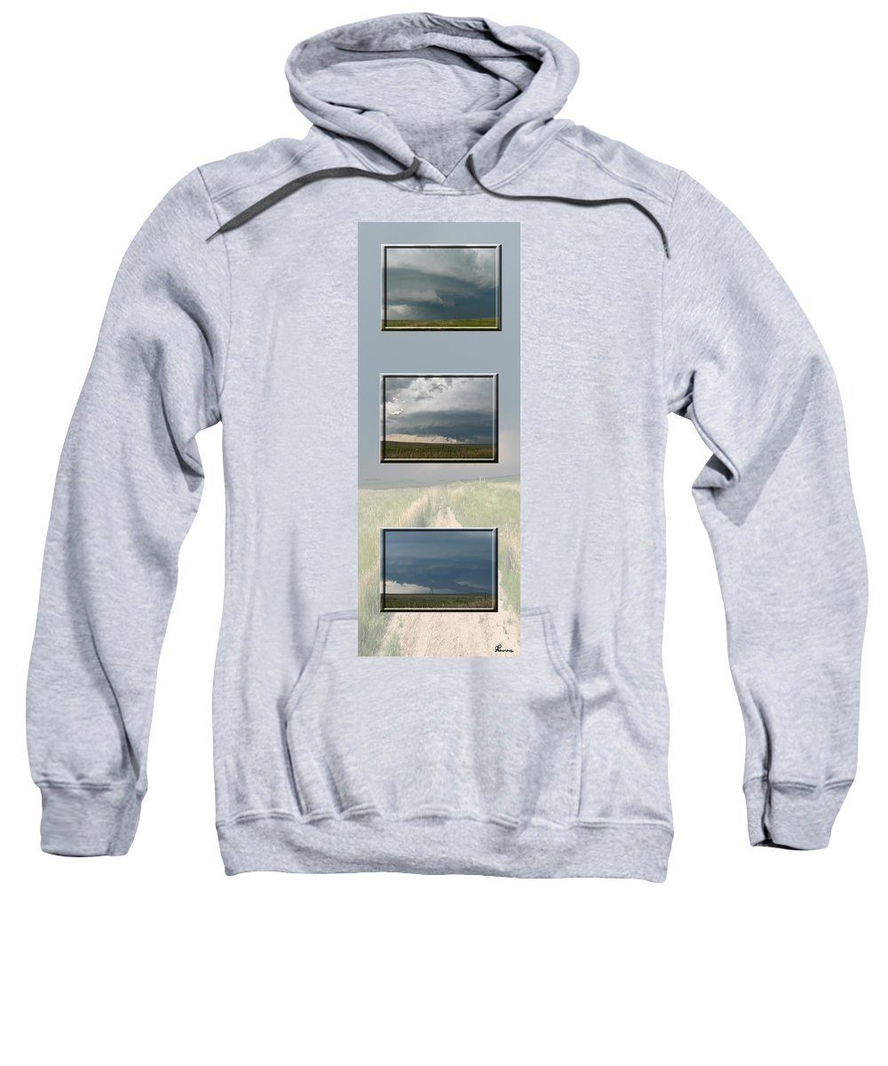 Tornado Strom Weather Rain Thunder Clouds Wind Sweatshirt featuring the photograph Storm Collection by Andrea Lawrence