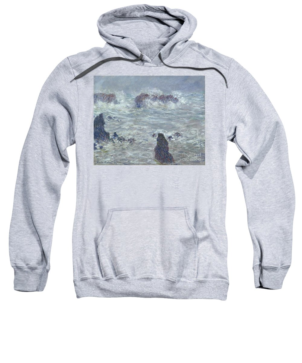 Storm Sweatshirt featuring the painting Storm Off The Coast Of Belle Ile by Claude Monet