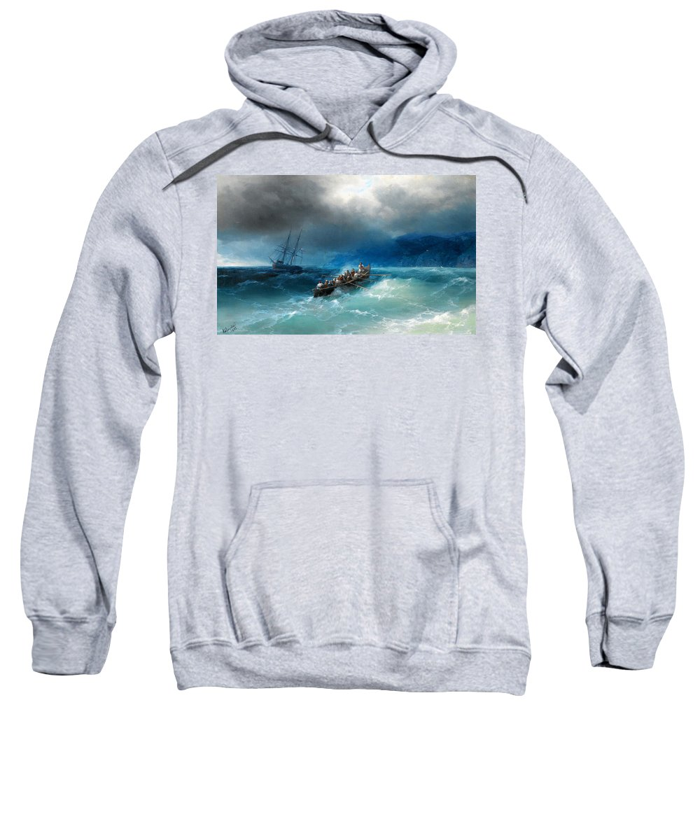 Ivan Aivazovsky Sweatshirt featuring the painting Storm Over The Black Sea by Ivan Aivazovsky