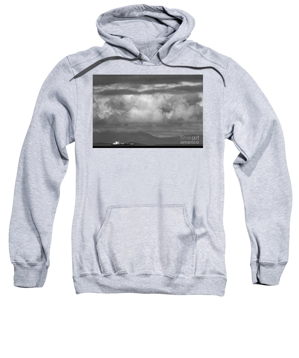 Black And White Sweatshirt featuring the photograph Storms Over The Cargo Ship - Black And White by Adam Jewell
