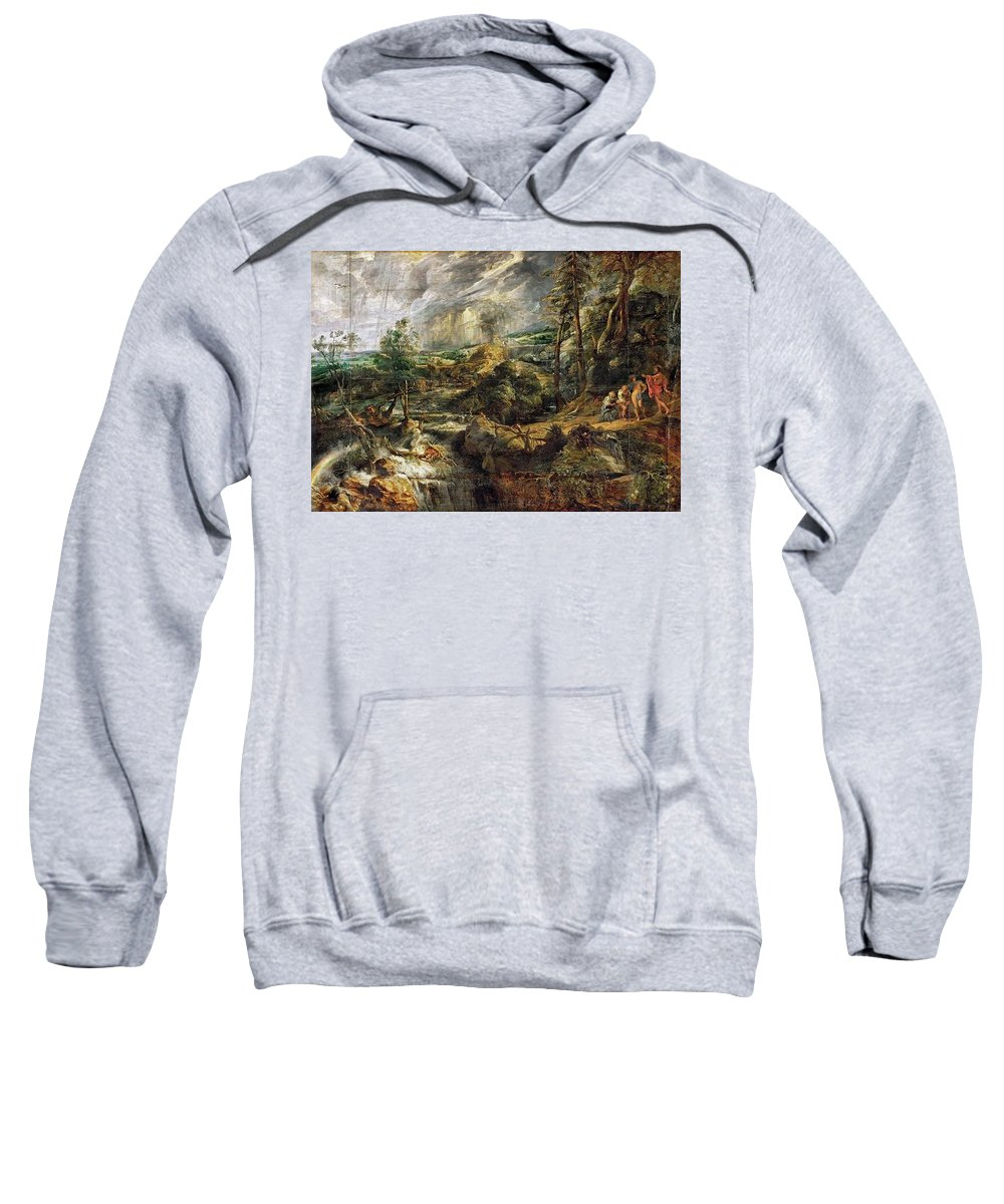 Tree Sweatshirt featuring the digital art Stormy Landscape - 1625 Peter Paul Rubens by Eloisa Mannion