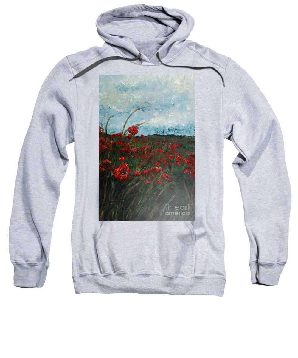 Poppies Sweatshirt featuring the painting Stormy Poppies by Nadine Rippelmeyer