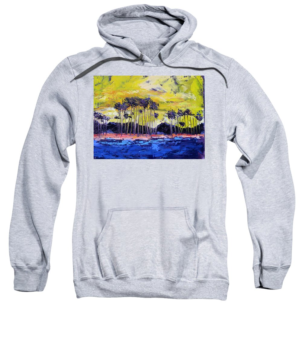 Water Sweatshirt featuring the painting Stormy Shores by Patricia Caldwell