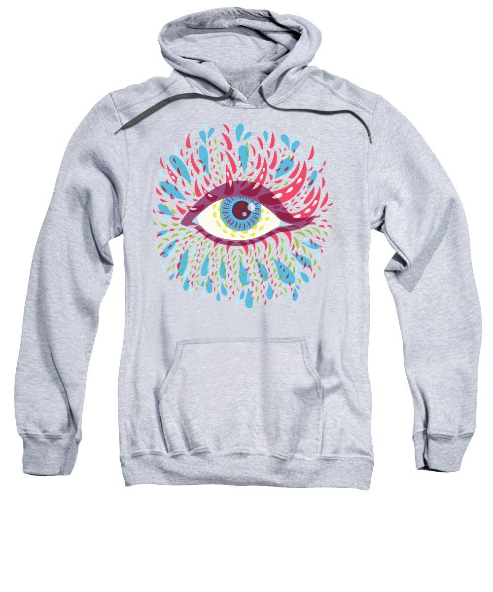 Eye Sweatshirt featuring the digital art Strange Blue Psychedelic Eye by Boriana Giormova
