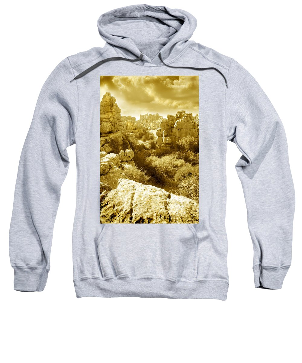 Rock Sweatshirt featuring the photograph Strange Rock Formations At El Torcal Near Antequera Spain by Mal Bray