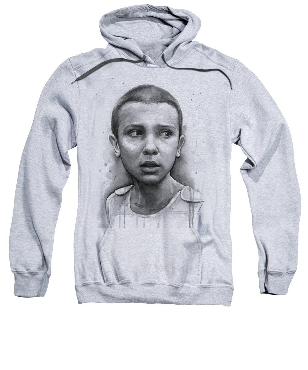 Stranger Things Sweatshirt featuring the painting Stranger Things Eleven Upside Down Art Portrait by Olga Shvartsur