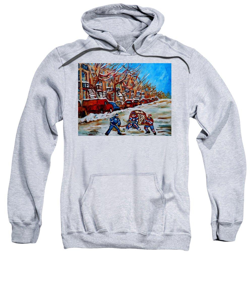 Street Hockey Hotel De Ville Sweatshirt featuring the painting Street Hockey Hotel De Ville by Carole Spandau