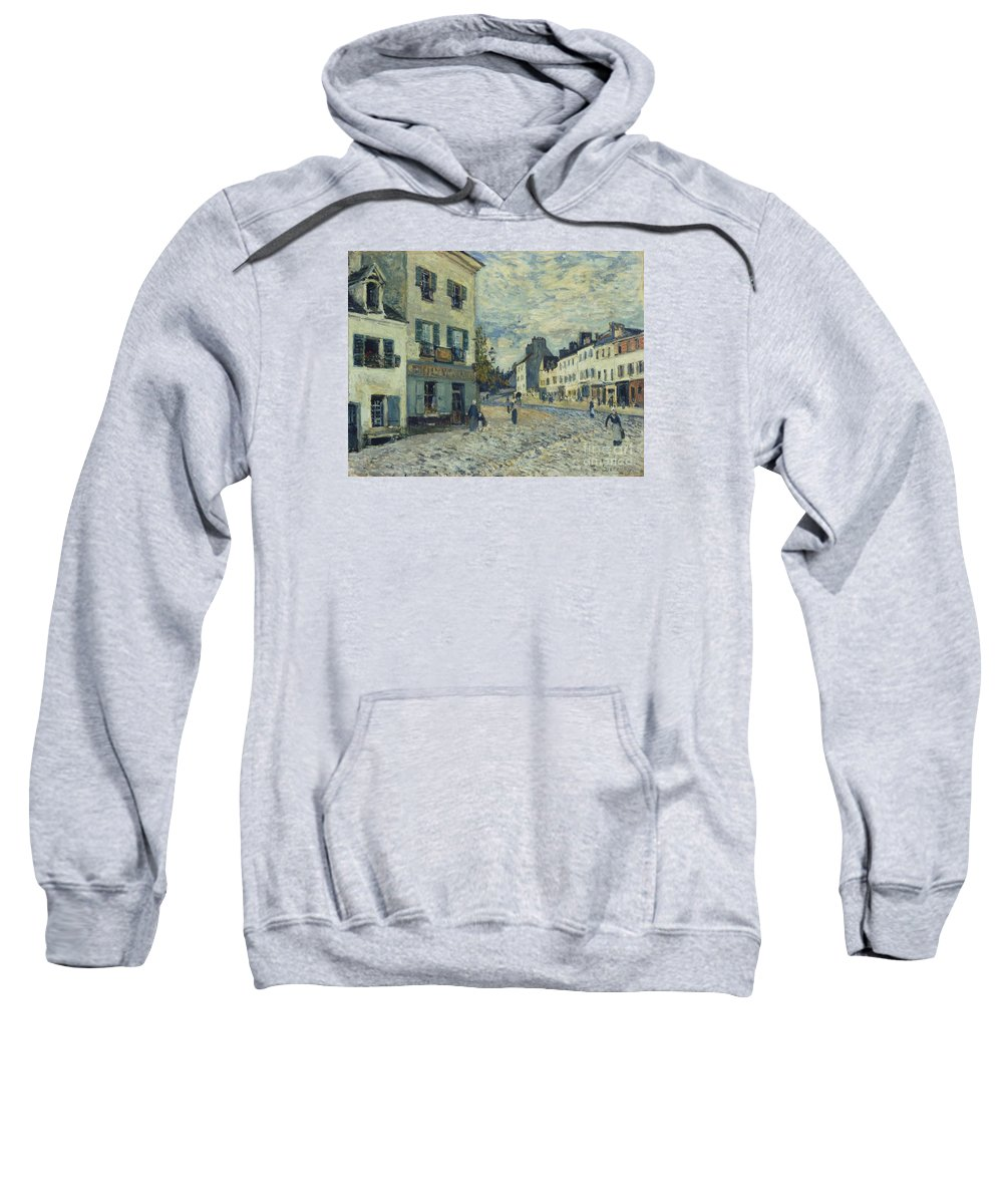 Street In Marly Sweatshirt featuring the painting Street In Marly by MotionAge Designs