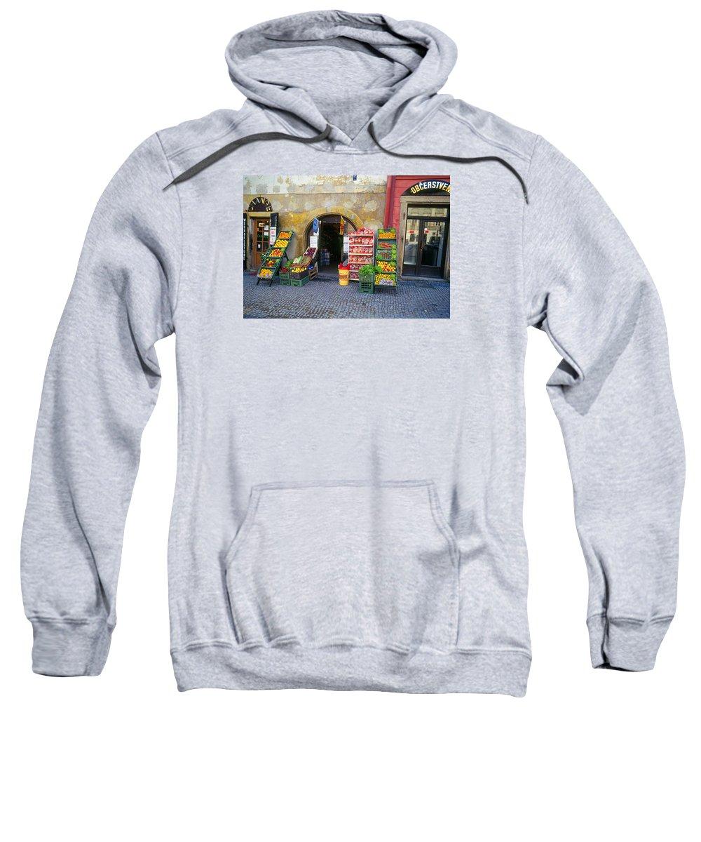 Czech Sweatshirt featuring the photograph Street Market, Prague by Buddy Mays