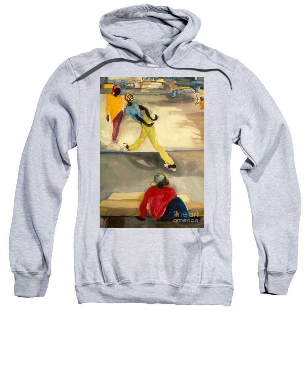 Watercolor Painting Sweatshirt featuring the painting Street Scene by Daun Soden-Greene