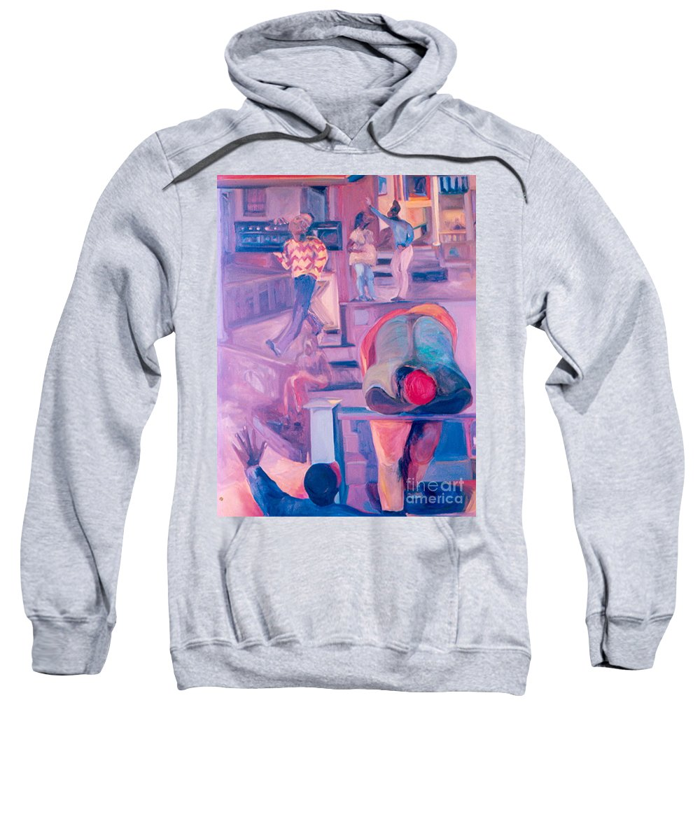 Oil Painting Sweatshirt featuring the painting Street Scenes by Daun Soden-Greene
