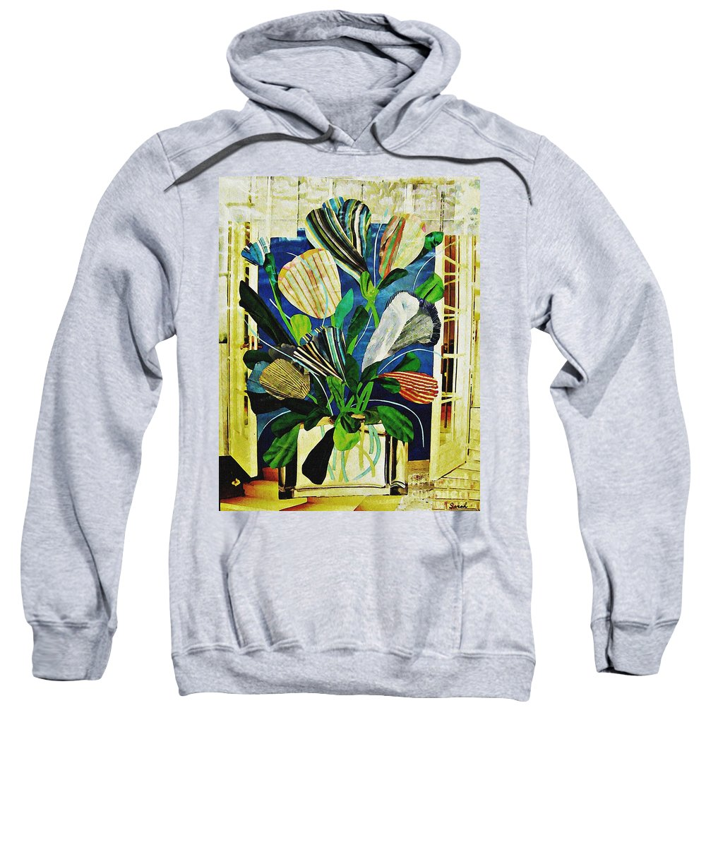 Tulip Sweatshirt featuring the mixed media Striped Tulips At The Old Apartment by Sarah Loft